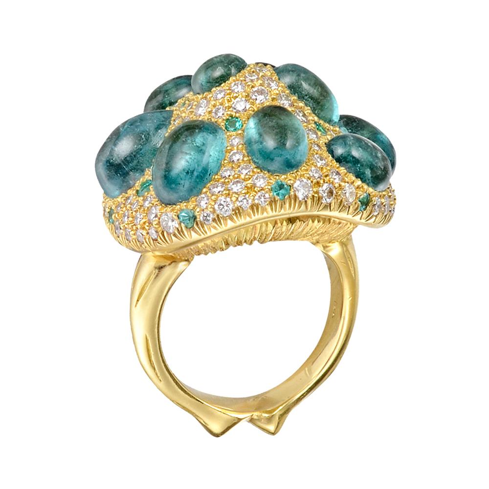 Psychedelic Mushroom Ring Gleaming with psychedelic, blue-green Paraiba tourmalines, diamonds and tsavorite garnets, this 18K gold mushroom ring embodies the full-bodied color and drama that is so characteristic of Nicholas Varney jewels. Found only in Brazil, Paraiba tourmalines are some of the world's rarest and most expensive stones.