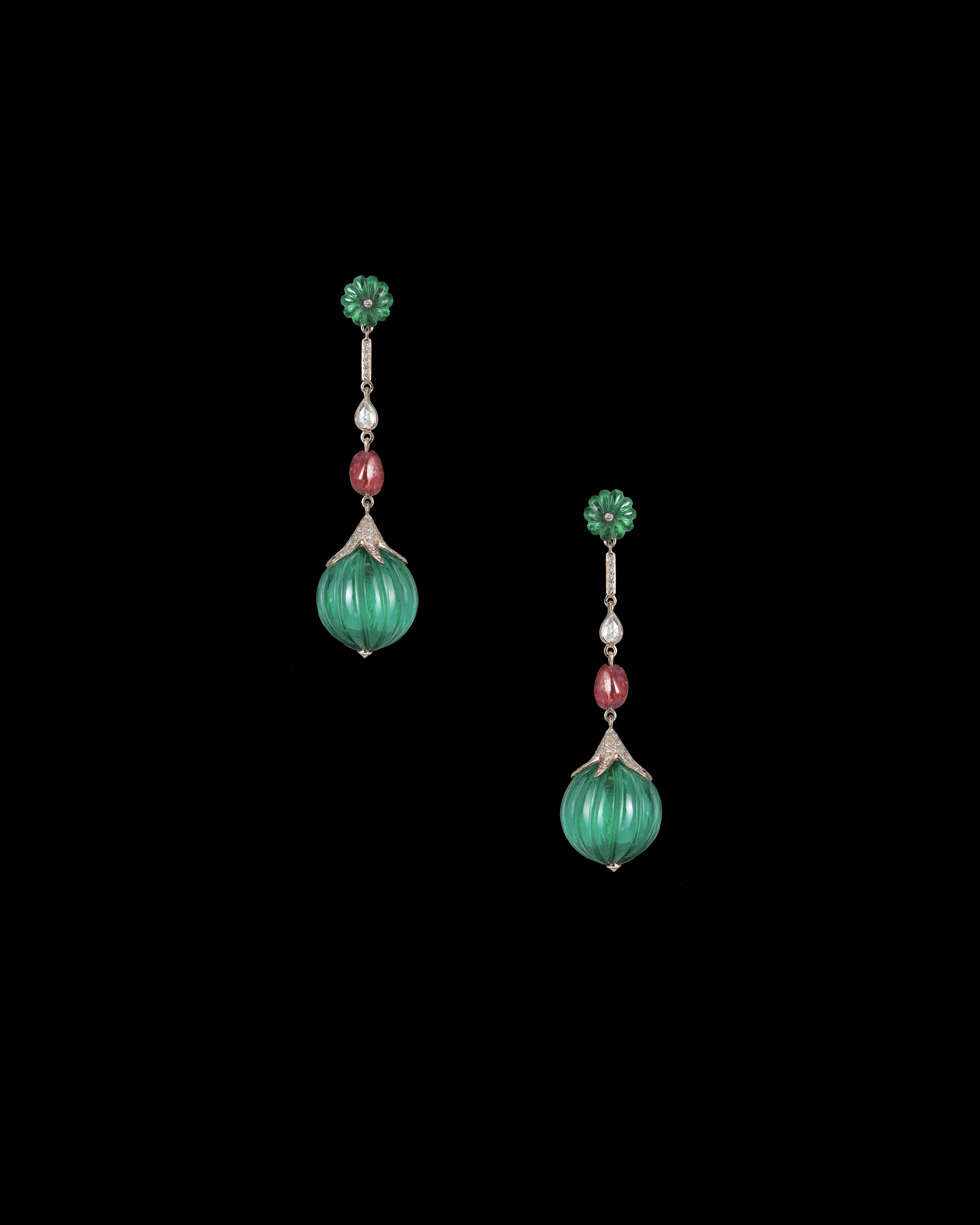 Hanut Singh Emerald Melon Earrings
